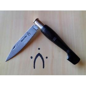 Couteaux Nontron Damas en ébène n°25 manche sabot
