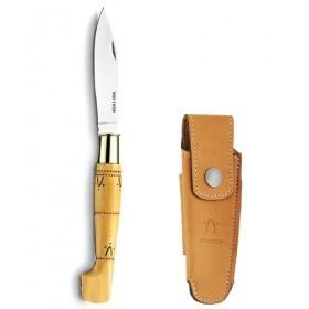 Couteaux Nontron en buis N° 25 avec étui en cuir Fauve, manche sabot, lame inox 9 cm