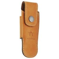 Couteaux Nontron en buis N° 25 avec étui en cuir Fauve, manche boule, lame inox 9 cm