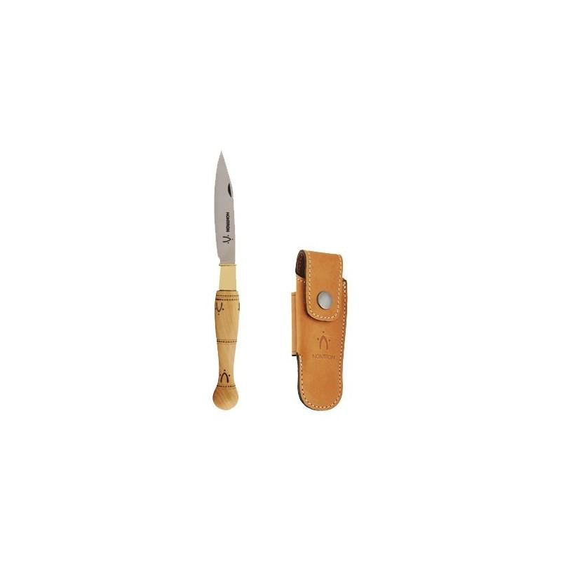 Couteaux Nontron en buis N° 22 avec étui en cuir Fauve, manche boule, lame inox 8 cm