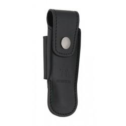 Couteaux Nontron en ébène N° 25 avec étui en cuir noir, manche boule, lame inox 9 cm