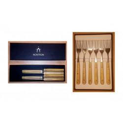 Pack éco Nontron - 6 couteaux de table 10 cm et 6 fourchettes de table (essence: bois de buis pyrogravé)