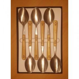 Pack éco Nontron - ensemble complet de 24 couverts de table - couteaux lame Yatagan (coffret de cuillères)