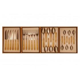 Pack éco Nontron - ensemble complet de 24 couverts de table - couteaux lame Yatagan