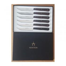 Coffret complet de 6 couteaux de table Nontron, manche en frêne densifié, lame inox yatagan, 10 cm