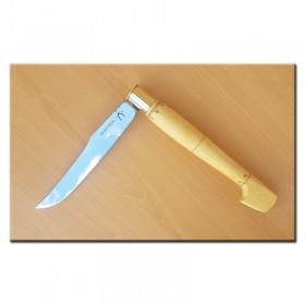 Couteau Nontron géant en buis pyrogravé N° 1, manche sabot en buis pyrogravé, lame yatagan inox 26 cm (couteau moitié ouvert)